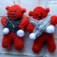 Knitted Christmas bear , hanging decoration,more decoration, first Christmas