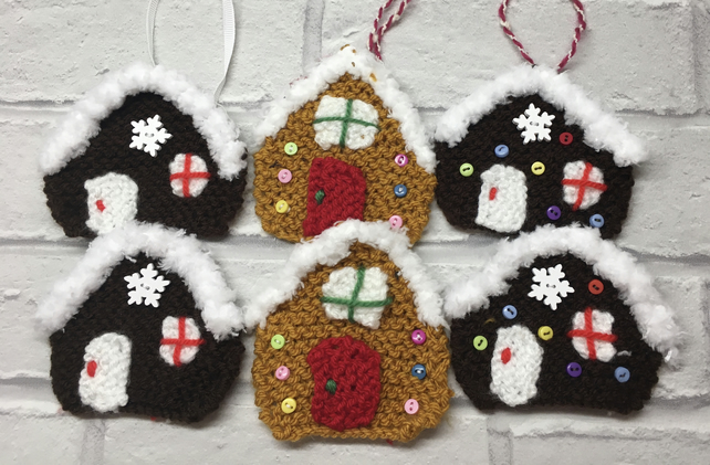 Knitted Christmas tree decorations, x2  gingerbread houses, hanging decoration