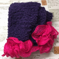 Purple knitted scarf with bright pink Pom Pom frills, winter, ladies