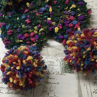 Knitted  scarf , ladies, girls multicoloured,  scarf with pom-poms