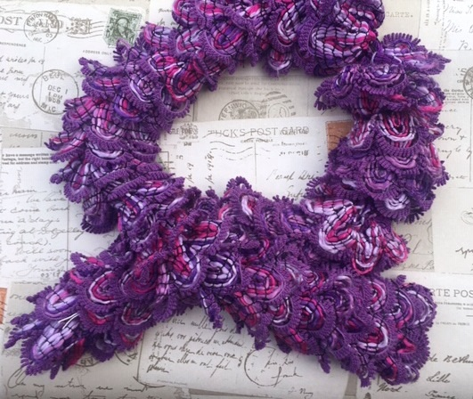 Knitted frilly scarf, purple, Mother's Day ,short length