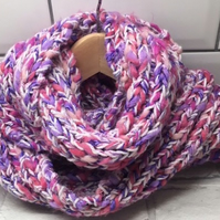Ladies pink scarf , long textured infinity cowl scarf , Mother's Day