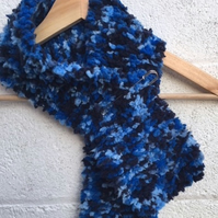 Short blue knitted scarf, Mother's Day gift, winter, short scarf