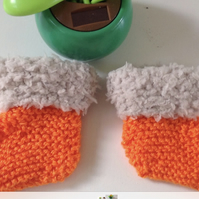 Knitted baby  bootees, slippers  orange,blue, new born baby shower,