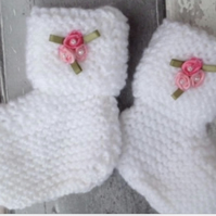 Baby bootees with satin pink flowers ,new born, baby shower, girl