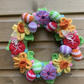 Knitted easter wreath with eggs