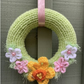 Mother's Day gift, knitted wreath, knitted wreath with flowers