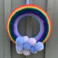 Knitted  rainbow wreath, Pom poms ,isolation gift  new born gift, bedroom decor