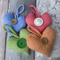 Hanging Knitted hearts,  pocket hugs, isolation gift