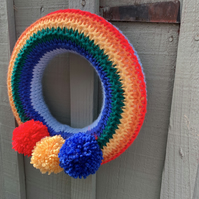 rainbow wreath with Pom poms , knitted isolation  new born gift, bedroom decor