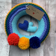 rainbow wreath with Pom poms , thank you gift  knitted   born gift,  decor