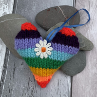 Hanging Knitted  rainbow hearts,  pocket hugs, isolation gift