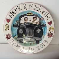 Hand painted personalised Wedding plate Black London taxi cab