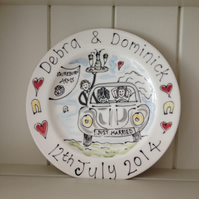 Hand painted personalised Wedding plate Couple in a Beetle Car