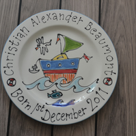 Hand painted personalised child's gift boat plate for Birthdays or Christenings