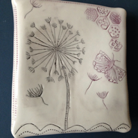 Wall art ceramic platter picture dandelion & butterfly
