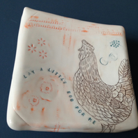 Wall art ceramic platter picture Chicken