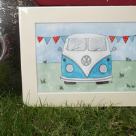 Split Screen Campervan Original Watercolour