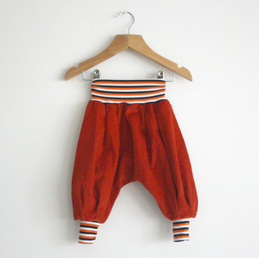 Grow Along Baby Trousers - Rust Cord Aladdin Pants