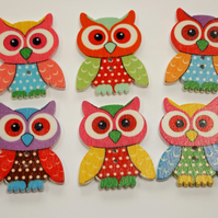 Owl buttons, pack of 10 wooden buttons in bright colours, great for crafts