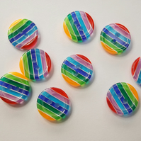 Stripe buttons in bright rainbow colours, fun buttons for crafts