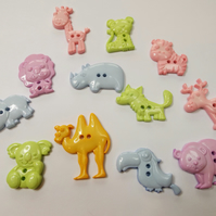 Animal buttons in a variety of pastel shades. Great for crafts