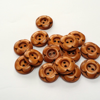 Wooden carved flower buttons, golden brown colour, pack of 10