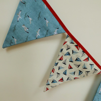 Light blue nautical bunting with sailing boats and Seagulls