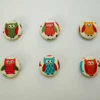 Owl Magnets, pack of 4 handmade magnets