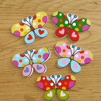 Butterfly buttons, pack of 10 wooden buttons, great for crafts