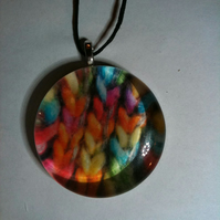 Large Chunky Rainbow Glass Pendant