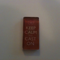 'Keep Calm and Cast On' Glass Magnet