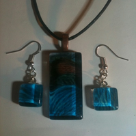 Blue Moon Glass Pendant and Earring Set