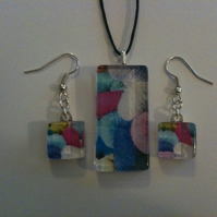 Ice Cream Sundae Glass Pendant and Earring Set