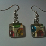 Yarn Balls Glass Earrings