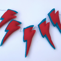 Red Bunting, Colourful red and turquoise lightning bolt garland