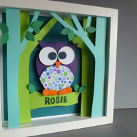 Personalised Baby Kids Childrens picture - Owl