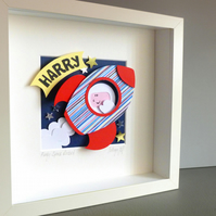 Personalised Baby Kids Childrens picture - Space Rocket