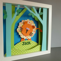 Personalised Baby Kids Childrens picture - Lion Jungle