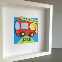 Personalised Baby Kids Childrens picture - Fire Engine