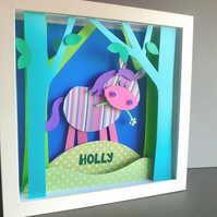 Personalised Baby Kids Childrens picture - Pony Horse