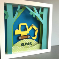 Personalised Baby Kids Childrens picture - Digger