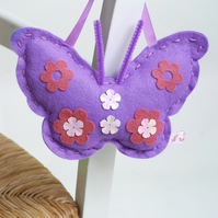 SEWING KIT FOR CHILDREN: PURPLE FELT BUTTERFLY KIT FOR KIDS