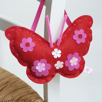 SEWING KIT FOR CHILDREN: RED FELT BUTTERFLY KIT
