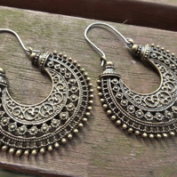 Brass Tribal Hoops - Ethnic Hoop Earrings With Hypoallergenic Titanium Wires