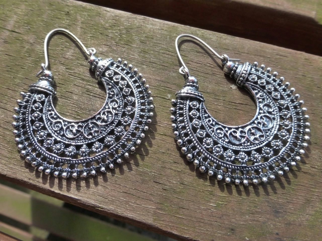 Silver Tribal Hoop Ethnic Earrings With Hypoallergenic Titanium Ear Wires