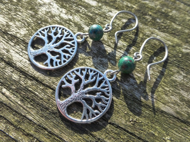 Earth Element Tree Of Life Earrings With Hypoallergenic Titanium Ear Wires