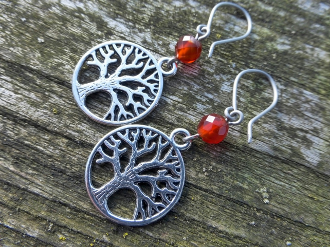 Fire Element Tree Of Life Earrings With Hypoallergenic Titanium Ear Wires