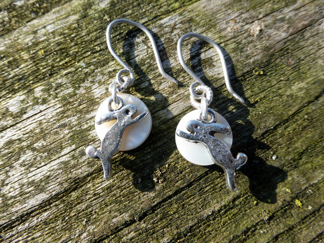 Moon Gazing Boxing Hare Charm Earrings With Hypoallergenic Titanium Ear Wires