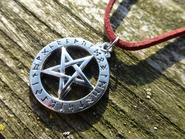 Silver Rune Pentacle Pendant With Red Faux Suede Necklace
